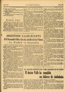 La ciudad se despuebla. Angustioso llamamiento a D. Bernardino Valle y Gracia, alcalde de Las Palmas (1920)