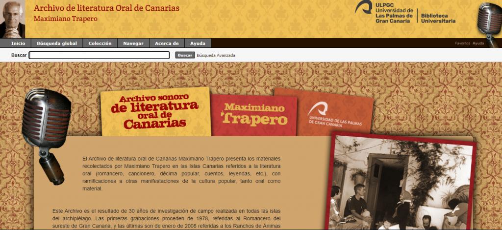 Archivo de literatura Oral de Canarias Maximiano Trapero